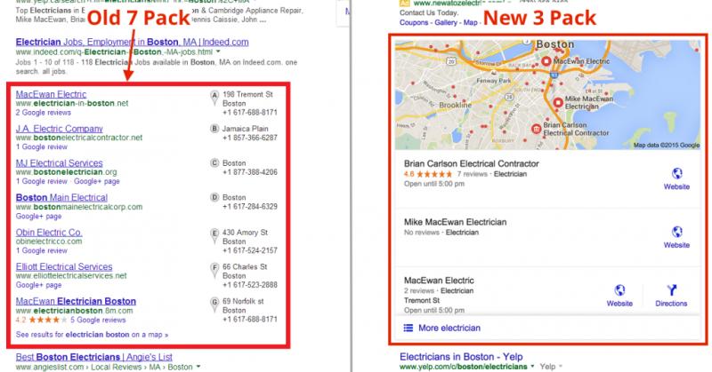google 3 pack vs the old google 7 pack